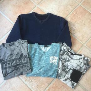 Brand: DWG ( D-xel) Varetype: T-shirts x 3 stk. Sweatshirts x 1 stk. Størrelse: 164 Farve: se foto Oprindelig købspris: 1000 kr.  Sælges samlet 3 stk. T-shirts + 1 Sweatshirts  Hellængde: 64 cm Str. 14 år