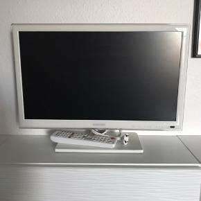"""Hvid Samsung fladskærm. 21"""". Ikke brugt ret meget, fejler intet."""