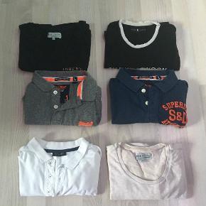 Sælger disse 6 T-shirts/Polo'er for min kæreste.   Den første er en T-shirts fra Just Junkies. Den er sort, med et print af en ulv bagpå, størrelse M.   Den anden er en Shawn London T-shirt i størrelse L.   Den tredje er en lyserød T-shirt fra Just Junkies i en størrelse M.   Den fjerde er en grå The Classic Pique Polo i en størrelse L.   Den femte er en mørke blå The Superstate Polo i en størrelse L.   den sjette er en hvid polo fra Bruun og Stengade i en størrelse M.   Vi har ingen fast pris, så endelig bare byd på enten en eller flere ting :) Skriv også for flere billeder :)