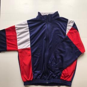 Vintage sport sweatshirt tracktop Mørkeblå/rød/hvid Str L, fitter M-L