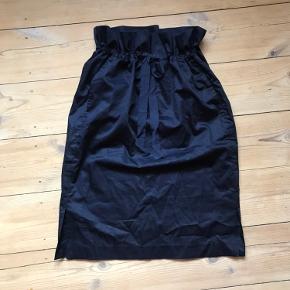 Bomulds poplin paperbag nederdel