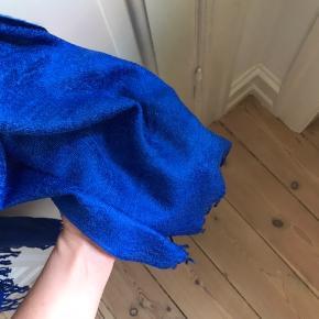 Blåt 100% kashmir tørklæde med struktur-vævninger