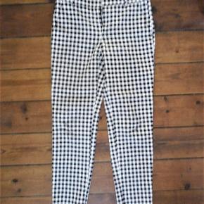 Ternede bukser, sort, hvidstretch, blød passer 36/38