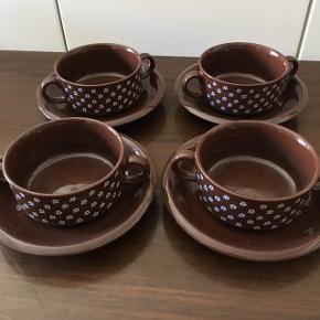 Sødahl suppe kopper med underkop til 4 styk samlet. Retro 200kr