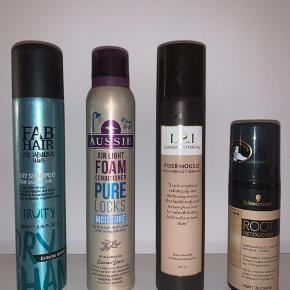 Forskellige hårprodukter. Dry shampoo, skum balsam, fiber mousse og root retoucher. Mærker: Schwarzkopf, Aussie, Lernberger Stafsing og Fab Hair