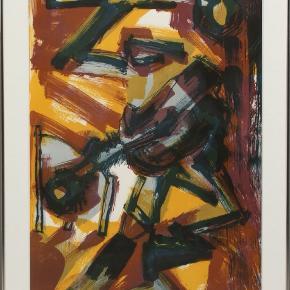 Komposition, af Lise Malinowsky f.1957. Litografi, signeret Lise Malinowsky. Isat ramme med glas og paspertou. Måler 90 x 65 cm.