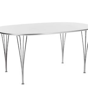 Fritz Hansen - Super-Ellipse spisebord B611 - Krom spændben 90x135 cm Hvid laminat