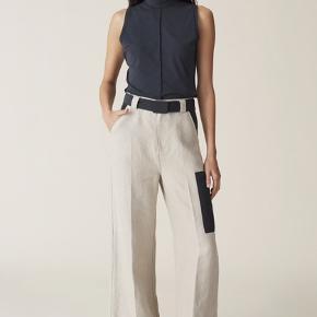Ganni s/s20 habit hør bukser i lys beige med sorte detaljer Aldrig brugt  MP 550 Bytter ikke