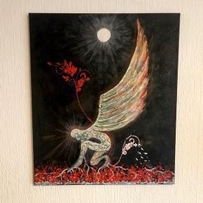"Akrylmaleri på lærred ""Midnight Bloom"" 70 x 60 cm."