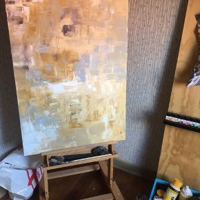 Originalt canvas maleri. Lækre lyse farver, og den grå farve har betoneffekt.🤩🤩 60x100cm  Artist: S. Rose  400kr eller sælges til højst bydende.