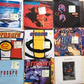 Erasure vinyl lp og maxi plade 14 styk for 400kr med vince Clarke fra Depeche mode.