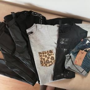 2 par sorte bukser i læder look, sort trøje med med sten på skulde og cowboy shorts er ubrugt den grå Hist & pist trøje og den sorte Only T-shirt er brugt få gange og i super fin stand. Mindstepris for alle 6 dele 250kr. Kom evt med et seriøs bud-skambud frabedes 😊