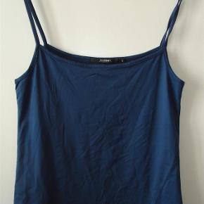 Varetype: Lille top med flot udskæring og tynde stropper i flot mørk blå Farve: Mørk blå  Top med flot udskæring og tynde stropper i dejlig mørk blå størrelse L. 95% polyamid og 5% elastan. Måler over brystet 80 cm. - uden at trække i stoffet. Længden er 58 cm. Aldrig brugt. BYTTER IKKE!