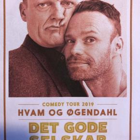 4 billetter til det gode selskab med Hvam og Øgendahl i Skive kultur center Limfjord. Onsdag den 15 maj kl. 19.  Sælges desværre da vi er forhindret  Det er online billetter.