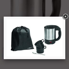 ❗️Sellout ❗️New   Clatronic kettle with mugs ☕️☕️ WKR 3624 Kettle Ideal when traveling and on the move Capacity: of up to 0.5 liter Stainless steel housing Incl. 2 cups á 170 ml, transport bag and spoon On/off switch Hidden stainless steel heating element Indicator lamp Automatic shut-off Boil dry/overheat protection 110/230 V, 50 Hz, 1000 W  Original price 110kr  NOW: 90kr inkl fragt 🖤🖤🖤
