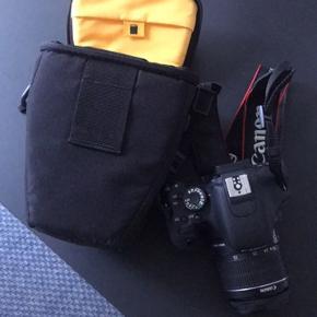 Sælger mit Canon 600d, da det bare står og samler støv. Det fejler overhovedet ikke noget og er næsten ikke brugt. Medfølgende 16 gb SD kort, batteri, oplader og taske.