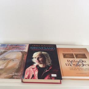 """Bøger jeg har arvet, men ikke får læst: Sprækker i virkeligheden - brudstykker fra sindslidendes liv - paperback - aldrig brugt, """"lægge-præg"""" ~ 20 kr.  Odile Poulsen - Sirenesang - Hardback, fin stand ~ 30 kr.  Helene Krenchel - Balsam til sjælen - hardback, god stand ~ 25 kr.  Plus porto. - Forsikret med DAO: fra 36 kr. - Post Nord: (eget ansvar) 45 kr.  Bytter ikke."""