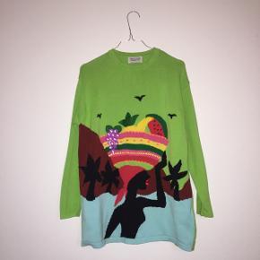 Retro United Colors of Benetton strikket sweater i unikt design. 100% bomuld, de fineste farver og med cool tropisk motiv. Passer str. S/M. Rigtig god stand.