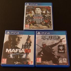 Ps 4 spil:  Sleeping dogs definitive edition - solgt Mafia III Homefront the revolution -solgt  Kom med et bud.