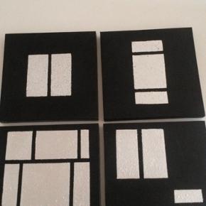 Serie bestående af 4 billeder malet i Sort /Sølv Røgfrit / dyrefrit hjem. Sendes ikke Tager MobilePay  Købt for 899,95 kr. Sælges samlet for 200,-