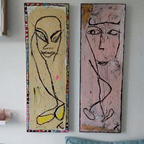 Sælger disse malerier malet på lærred 1100kr for 1, 2000 kr for 2 85 x 29 cm  Følg med på min profil, flere malerier er til salg.