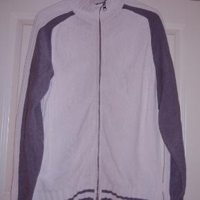 Esprit bomulds strikcardigan med lynlås. Hvid og grå str. XL  Byd :-)