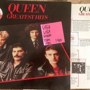 Queen vinyl lp plade greatest hits med indlæg fede numre på lp