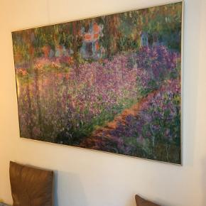 Stor Monet plakat i aluramme med glas. 70x120cm. Glassets er gået lidt i stykker i hjørnet og sælges derfor billigt