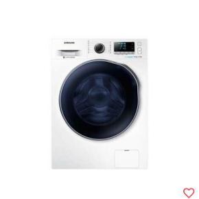 Samsung Eco-Bubble Vaske/tørremaskine   WD80J6A00AW Ny og bedre model af tidligere topsælger!    Har du brug for at kunne vaske mere tøj ad gangen, kan WD80J6A00AW fra Samsung rumme 8 kg.  Det svarer til at du kan vaske 7-8 sæt tøj ad gangen.  Maskinen har en tørrekapacitet på 5 kg tøj, og det betyder, at den har plads til at tørre det tøj, som en mindre familie har behov for.   Vaskemaskinen har en centrifugeringshastighed ved helt op til 1400 omdejninger i minuttet. Det betyder, at en god del af det overskydende vand vil blive slynget ud af vasketøjet, og du slipper for at vente evigheder på at dit nyvaskede tøj tørrer.  En lav restfugtighed i tøjet efter vask betyder, at tøjet tørrer hurtigere både på snoren og i tørretumbleren.  Denne model har en restfugtighed på 44 %. Vaskemaskinen har en såkaldt kulfri motor, som reducerer energiforbruget.   Med Digital Inverter Motor får du en energieffektiv maskine med minimal støj og vedvarende høj ydelse.   Med 10 års garanti Diamond Drum Frisk dit tøj op med varm luft Lad Smart Check  Vask koldt, og skån dit tøj Eco Bubble™ Rengør med Eco Drum Clean     Som Ny! Bruges kun et par gange  Kun salg på grund af flytning    Nuværende pris er over 6500DKK    Afhentes i Aalborg, eller jeg kan levere