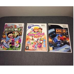 Wii spil. 40 kr stk. 100 kr for 3 stk  MiniGolf Babysitting Party Generator Rex - Agent of Providence