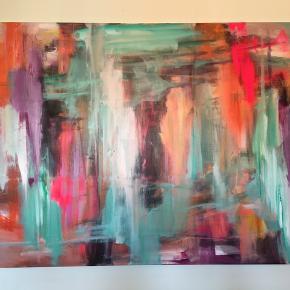 Maleri unika str 150x100 cm acryl malet på lærred lige til at hænge op. Kan sendes
