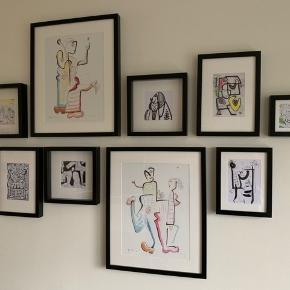 Grafiske billeder af kunstneren Jes Nordby. Den viste opstilling måler ca. 160cm i bredden og 110 cm i højden. Sælges helst samlet. Sender gerne flere fotos.