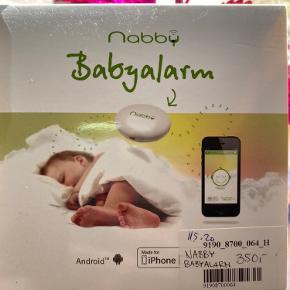 Nabby baby alarm der kører over Bluetooth på telefonen. Virkelig smart 😊  Sælges da vores behov ændrede sig. Er næsten som ny da der var en reklamation på den gamle og er brugt få gange.  Kan afhentes i Horsens el. Sendes for købers regning 😊