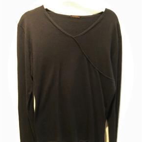 Hunkydory Pullover L, sort, slids med hægter i siden, brugt 2 gange, stort set som ny,  85% cotton/15% cashmere