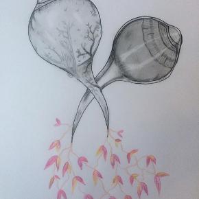 Eye blossom 🌸 Tegning lavet af mig, tegnet med kulblyant, akvarel, marker.  A4  Se mere på Instagram: grogitzart