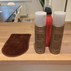 Selvbruner + handske De to mousse er kun brugt få gange. Sprayen er brugt en del. Np 330,-