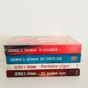 🏡 Flyttesalg 50% på alt, er trukket fra den oprindelige pris👆🏼🏡 📦 Alt skal væk i Januar 📦  📬 Køber betaler for forsendelse 📬  George D. Shuman's krimiserie med alle 4 bøger. Beskrivelsen findes i billederne . Aldrig brugt og 2 bøger med plastik omkring.   📚 #1 ) 18 sekunder NP: 119,95kr  📚 #2 ) Det sidste suk NP: 119,95kr  📚 #3 ) Fortabte piger NP: 119,95kr  📚 #4 ) Et andet syn NP: 149,95kr   Sælges samlet, for 300kr. Spar 209,80kr