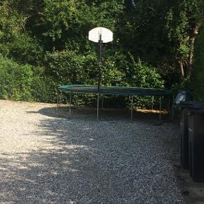 En stor trampolin, som aldrig bliver brugt. Der hører også stænger og net til, det ligger bare i kælderrummet.  Du skal selv skille den ad, men jeg hjælper dig gerne.   Såvidt jeg husker er lynlåsen, til indgangen, i stykker, så åbningen ikke kan lukkes rigtigt.