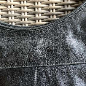 Læder. Længde ca 38,5 cm Højde hvor den er lavest ca 27 cm Lukkes med lynlås. Justerbar rem, kan også bruges som skuldertaske.
