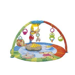 Tapis d'éveil musical de marque CHICCO, possibilité de brancher un téléphone pour reporter la musique souhaitée. Lumière qui change de couleurs au dessus du bébé, plusieurs jouets suspendus. Présente un léger défaut réparable.