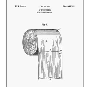Plakat af patent-tegning til toiletrullen.  Kom til at købe 2 stk. Den er stadig pakket ind. Ny pris 100 kr. Størrelse A5   Billederne er desværre lidt slørede. Den ses også her: https://posterandframe.dk/collections/handtegnet/products/toilet-paper-roll?lang=en