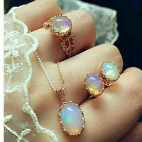 Krystal fire opal  smykkesæt, materiale alloy rosa gylden