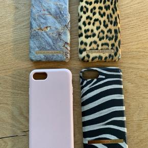 iPhone 7 covers.   Ideal of sweden - 100 kr stk.  lyserød gummi - 75 kr.  zebra - 30 kr.