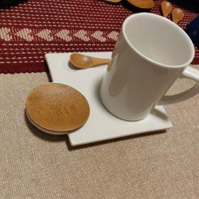 Sia cafésæt til 4 Pers i bambus og porcelæn