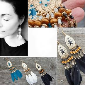 Flotte øreringe med perler og fjer i flot boheme stil. Helt nye. Flere smykker under profil