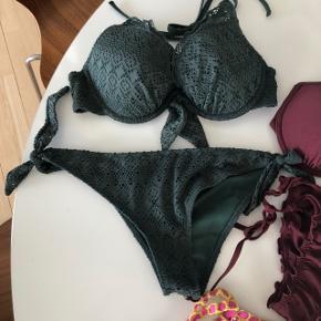 Mørkegrøn bikini - brugt få gange,  Overdel str 75C, underdel str 38