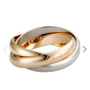 Varetype: Guldring Størrelse: 49 Farve: Guld,Hvidguld Oprindelig købspris: 10000 kr.  Cartier Trinity ring str 49 inkl æske sælges.   Ringen består af tre ringe i 18k gulguld, 18k hvidgul og 18k rosaguld. Ringene sidder sammen, og Cartier er indgraveret i en af ringene.   En meget smuk og ikonisk ring fra Cartier.   Nypris 10.000 kr. Mindstepris er 7500 kr.  Kan evt mødes og handle.   Købt ved Cartier i Rom. Kvittering haves ikke.   Hvis man er oprigtigt interesseret kan der sendes billeder af min egen ring via SMS.