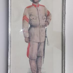 C. L. Seifert, København. Indrammet tryk fra 1916 af sergent major i ordenskorpset på Sct. Thomas, Dansk Vestindien. Ramme 21,5 x 46,5 cm.