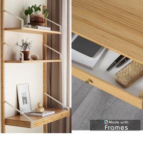 SVALNÄS bambus  skrivebordskompleks med lille hylde og skrivebord med skuffer    B: 86 cm, h: 93 cm, d: 35 cm   Er blevet brugt i ca 6 mdr  Søgeord: string, reol, skrivebord, skrivepult, reolskinner