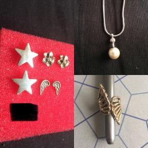 Frit valg af øreringe, halskæde og ring. Prisen er pr. smykke. Smykkerne er aldrig brugt. Stjerneøreringene er fra Pilgrim Perlehalskæde med sten. Guldfarvet ring, er lidt mindre end en str. 60